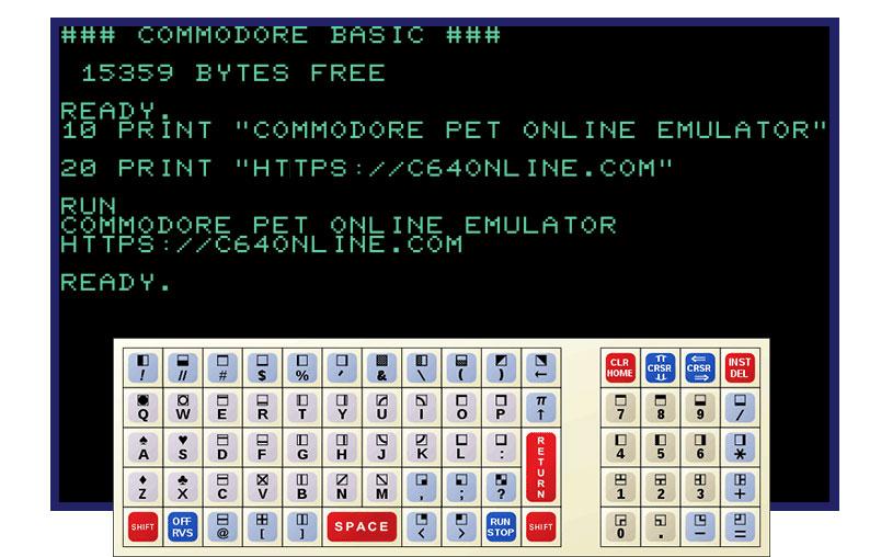Online Commmodre Pet Emulator at c64online.com